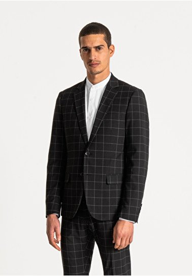 giacca uomo antony morato slim fit a quadri