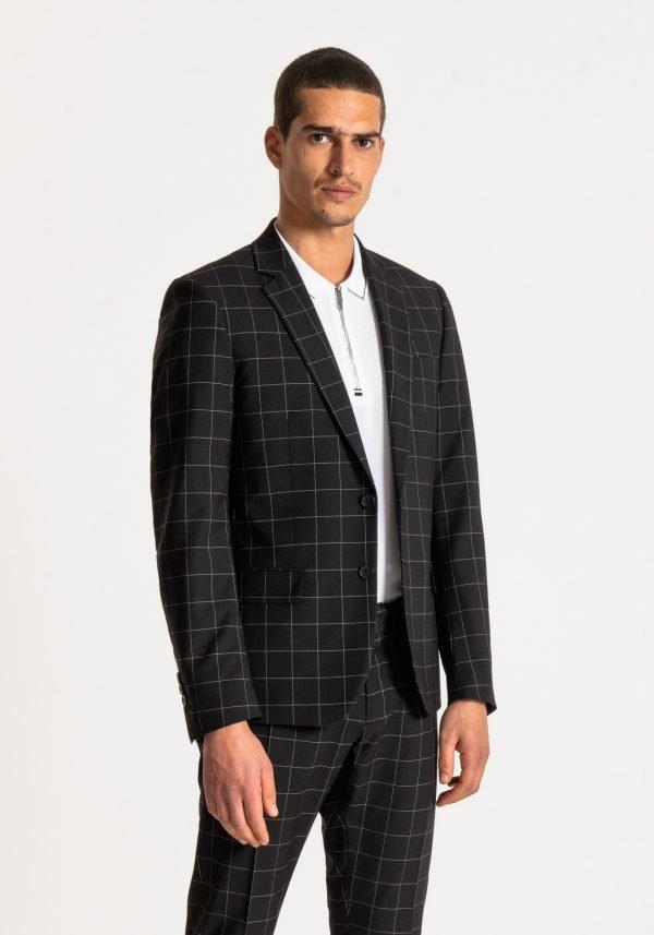 giacca uomo antony morato slim fit a quadri fianco sbottonato