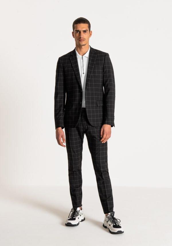 giacca uomo antony morato slim fit a quadri davanti sbottonato