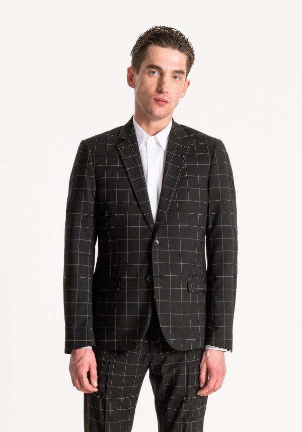 giacca uomo antony morato slim fit a quadri davanti 2