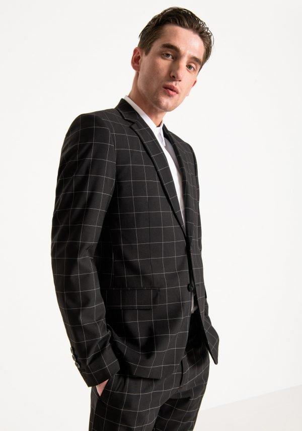 giacca uomo antony morato slim fit a quadri fianco