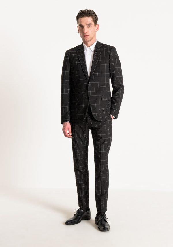 giacca uomo antony morato slim fit a quadri davanti
