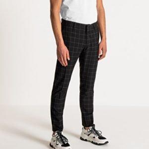 pantaloni uomo antony morato slim fit a quadri effetto gessato