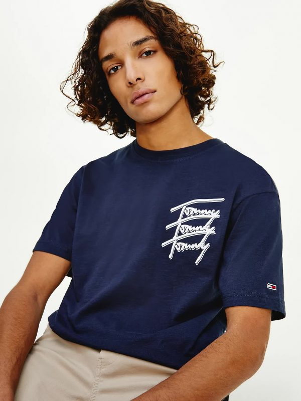 T-SHIRT TOMMY JEANS CON LOGO FIRMA RIPETUTO