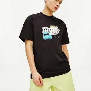 t-shirt tommy jeans in cotone con logo effetto sbiadito