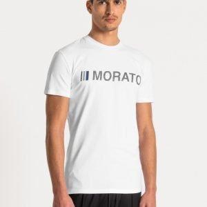 t-shirt uomo antony morato super slim fit cotone elasticizzato logo frontale gommato