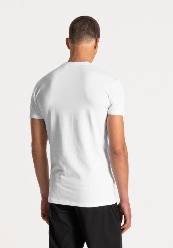 t-shirt uomo antony morato super slim fit cotone elasticizzato logo frontale gommato dietro
