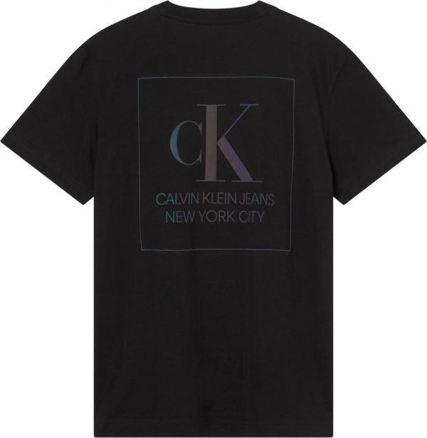 T-shirt Calvin klein nera con scritte olografiche dietro