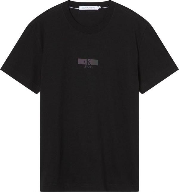 T-shirt Calvin klein nera con scritte olografiche 1